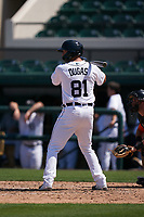 Detroit Tigers Dayton Dugas (81) bats during a Minor League Spring Training game against the Baltimore Orioles on April 14, 2021 at Joker Marchant Stadium in Lakeland, Florida.  (Mike Janes/Four Seam Images)