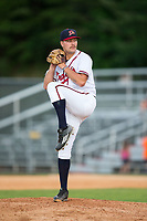 Danville Braves relief pitcher Ryan Schlosser (37) in action against the Princeton Rays at American Legion Post 325 Field on June 25, 2017 in Danville, Virginia.  The Braves walked-off the Rays 7-6 in 11 innings.  (Brian Westerholt/Four Seam Images)