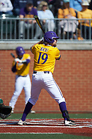 Alec Burleson (19) of the East Carolina Pirates at bat against the Charlotte 49ers at Hayes Stadium on March 8, 2020 in Charlotte, North Carolina. The Pirates defeated the 49ers 4-1. (Brian Westerholt/Four Seam Images)