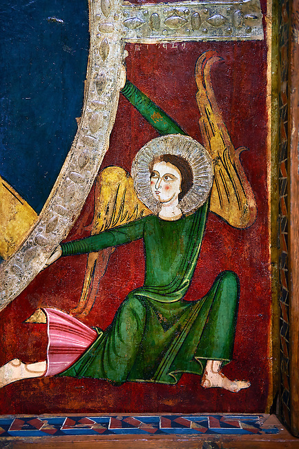 Romanesque painted Canopy of Tavèrnoles.<br /> <br /> Second quarter of the thirteenth century  from the ancient monastery of St. Sernin Tavèrnoles valleys Valira Alt Urgell, Spain<br /> <br /> Acquired by the National Art Museum of Catalonia, Barcelona 1906. Ref: 24060 MNAC.<br /> <br /> Romanesque canopy-type panel with its cut supporting beams still visible. The panel is decorated with a painted image of Christ in Majesty or Christ Pantocrator in a mandorla which is supported by four angelic figures that evoke the theme of the Ascension. The canopy was discovered in the early twentieth century in the monastery of St. Sernin Tavernoles, half hidden by a Gothic altarpiece.