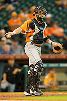 Tennessee Volunteers catcher Wes Walker #44 on defense against the Houston Cougars at Minute Maid Park on March 2, 2012 in Houston, Texas.  The Cougars defeated the Volunteers 7-4.  (Brian Westerholt/Four Seam Images)