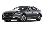 Stock pictures of low aggressive front three quarter view of 2018 Mazda Mazda6 Dynamique 4 Door Sedan Low Aggressive