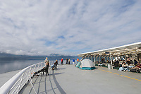 Forward deck of the Alaska State Marine Ferry Columbia, the largest of the ferry fleet. En route from Juneau to Sitka, Alaska