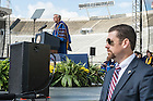 May 15, 2016;  Rev. John I. Jenkins, C.S.C., the University's president, introduces Vice President Joseph Biden and former Speaker of the House John Boehner, the recipients of the 2016 Laetare Medal during the 2016 Commencement ceremony at Notre Dame Stadium. (Photo by Barbara Johnston/University of Notre Dame)