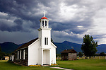 St. Mary's Mission, Bitterroot Valley, Montana.  Located in the town of Stevensville the mission was build to serve the Flathead Indians in 1841.  Located minutes south of Missoula.