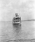 Lakewood NY: The City of Cleveland ferry arriving at the Kent House pier. Photographs were taken during a church field trip to Chautauqua Institution in New York (Lake Chautauqua). The Stewart family and friends visited Chautauqua during 1901 to hear Stewart's relative, Dr. S.H. Clark speaks at the institute. Alice Brady Stewart chaperoned and Brady Stewart came along to photograph the trip.  The Gallery provides a glimpse of how the privileged and church faithful spent summers at Lake Chautauqua at the turn of the century.