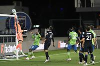 SAN JOSE, CA - OCTOBER 18: Stefan Frei #24 of the Seattle Sounders pushes the ball over the bar during a game between Seattle Sounders FC and San Jose Earthquakes at Earthquakes Stadium on October 18, 2020 in San Jose, California.