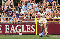 NEWTON, MA - SEPTEMBER 12: Sarai Costello #28 of Boston College dribbles during a game between Holy Cross and Boston College at Newton Campus Soccer Field on September 12, 2021 in Newton, Massachusetts.