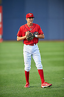 Williamsport Crosscutters shortstop Nick Maton (6) warms up before a game against the Mahoning Valley Scrappers on July 8, 2017 at BB&T Ballpark at Historic Bowman Field in Williamsport, Pennsylvania.  Williamsport defeated Mahoning Valley 6-1.  (Mike Janes/Four Seam Images)