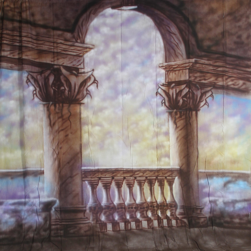 Backdrop featuring Greek ruins, railing, colonnade, arches, and ocean view from a palazzo terrace
