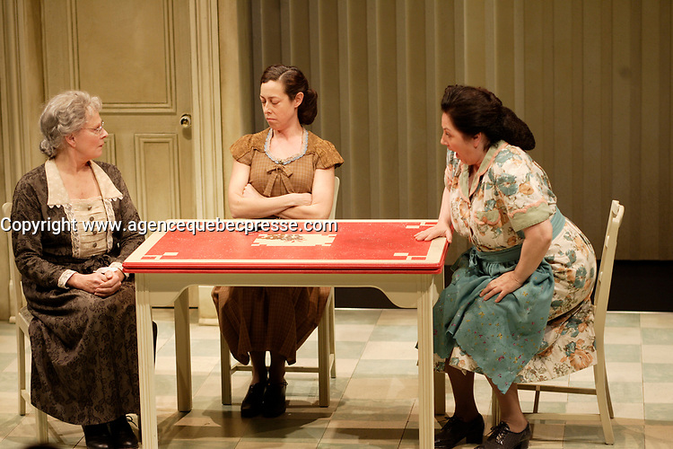 """The Centaur present the ENGLISH-LANGUAGE WORLD PREMIERE of  '' Assorted  Candie"""" by Michel Tremblay<br /> <br /> The enlglish version of """" Bonbons assortis'' TRANSLATED BY LINDA GABORIAU DIRECTED BY SERGE DENONCOURT,<br /> STARRING (IN ALPHABETICAL ORDER)<br /> LALLY CADEAU, HOLLY GAUTHIER-FRANKEL, GORDON McCALL, LENI PARKER,<br /> MICHEL PERRON, DONALD PILON, CLARE SCHAPIRO<br /> <br /> SET & COSTUME DESIGN JOHN C. DINNING, LIGHTING DESIGN LUC PRAIRIE,<br /> STAGE MANAGER KIRSTI BRUCE, APPRENTICE STAGE MANAGER VINCENT ABSI<br /> <br /> TRANSLATED BY LINDA GABORIAU DIRECTED BY SERGE DENONCOURT<br /> photo : (c)  Pierre Roussel"""