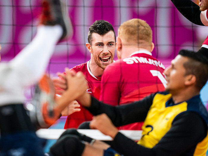 Doug Learoyd and Darek Symonowics, Lima 2019 - Sitting Volleyball // Volleyball assis.<br /> Canada competes for the bronze medal in men's Sitting Volleyball // Canada participe pour la médaille de bronze en volleyball assis masculin. 28/08/2019.
