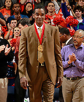 CHARLOTTESVILLE, VA- NOVEMBER 29: Virginia Cavalier alumni Ralph Sampson makes an appearance after being inducted into the basketball Hall of Fame during the game on November 29, 2011 at the John Paul Jones Arena in Charlottesville, Virginia. Virginia defeated Michigan 70-58. (Photo by Andrew Shurtleff/Getty Images) *** Local Caption *** Ralph Sampson