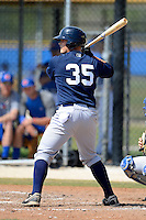 New York Yankees minor league catcher Wes Wilson #35 during a Spring Training game against the Toronto Blue Jays at the Englebert Complex on March 19, 2013 in Dunedin, Florida.  (Mike Janes/Four Seam Images)