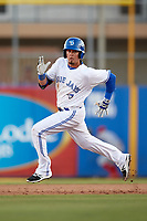 Dunedin Blue Jays shortstop J.C. Cardenas (2) running the bases during a game against the Clearwater Threshers on April 8, 2017 at Florida Auto Exchange Stadium in Dunedin, Florida.  Dunedin defeated Clearwater 12-6.  (Mike Janes/Four Seam Images)
