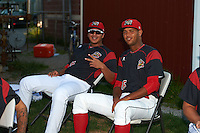 Batavia Muckdogs pitchers Javier Garcia (36) and Aneury Osoria (16) in the bullpen before a game against the Staten Island Yankees on August 26, 2016 at Dwyer Stadium in Batavia, New York.  Staten Island defeated Batavia 6-2. (Mike Janes/Four Seam Images)