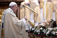 Pope Francis mass. the Solemnity of Epiphany at St Peter's basilica at the Vatican. January 6, 2016