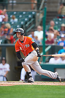 Norfolk Tides left fielder Christian Walker (14) at bat during a game against the Rochester Red Wings on July 17, 2016 at Frontier Field in Rochester, New York.  Rochester defeated Norfolk 3-2.  (Mike Janes/Four Seam Images)