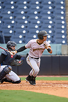 Bradenton Marauders catcher Endy Rodriguez (5) bats during a game against the Tampa Yankees on June 18, 2021 at George M. Steinbrenner Field in Tampa, Florida.  (Mike Janes/Four Seam Images)