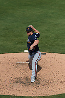 Atlanta Braves relief pitcher Jacob Webb (71) delivers a pitch during a Grapefruit League Spring Training game against the Detroit Tigers on March 2, 2019 at Publix Field at Joker Marchant Stadium in Lakeland, Florida.  Tigers defeated the Braves 7-4.  (Mike Janes/Four Seam Images)