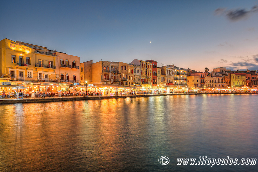 Chania's Venetian Harbour after sunset in Crete, Greece