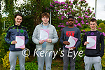 Cillian Hickey, Caleb Russell, Sean Hickey and Emmanuel Ajibare who started their Leaving Cert in St Brendans College Killarney on Wednesday