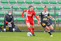 Noemie Gelders (10) of Standard and Margaux Van Ackere (37) of Eendracht Aalst pictured during a female soccer game between Eendracht Aalst and Standard Femina de Liege on the 11 th matchday of the 2020 - 2021 season of Belgian Scooore Womens Super League , Saturday 23 of January 2021  in Aalst , Belgium . PHOTO SPORTPIX.BE | SPP | STIJN AUDOOREN