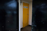 Prescot Cables 2 Brighouse Town 1, 13/02/2016. Hope Street, Northern Premier League. The home team dressing room door pictured at half-time as Prescot Cables take on Brighouse Town in a Northern Premier League division one north fixture at Valerie Park. Founded in 1884, the 'Cables' in their name came from the largest local employer, British Insulated Cables and they have played in their current ground, also known as Hope Street, since 1906. Prescott won the match 2-1 watched by a crowd of 189. Photo by Colin McPherson.