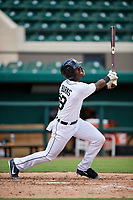 Detroit Tigers Jeremiah Burks (18) follows through on a swing during a Florida Instructional League game against the Pittsburgh Pirates on October 6, 2018 at Joker Marchant Stadium in Lakeland, Florida.  (Mike Janes/Four Seam Images)