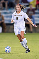 Texas State forward Elizabeth Havenhill (21) during NCAA soccer game, Friday, September 12, 2014 in San Marcos, Tex. TCU defeated Texas State 1-0. (Mo Khursheed/TFV Media via AP Images)