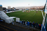 Fans watching the game in front of the Jamie Vardy Stand. Stocksbridge Park Steels v Pickering Town,  Evo-Stik East Division, 17th November 2018. Stocksbridge Park Steels were born from the works team of the local British Steel plant that dominates the town north of Sheffield.<br /> Having missed out on promotion via the play offs in the previous season, Stocksbridge were hovering above the relegation zone in Northern Premier League Division One East, as they lost 0-2 to Pickering Town. Stocksbridge finished the season in 13th place.