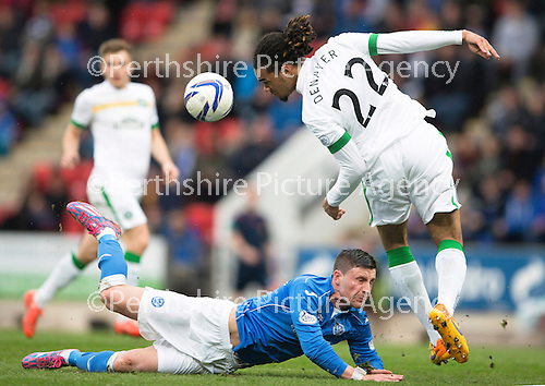 St Johnstone v Celtic...15.05.15   SPFL<br /> Jason Denayer gets the better of Michael O'Halloran<br /> Picture by Graeme Hart.<br /> Copyright Perthshire Picture Agency<br /> Tel: 01738 623350  Mobile: 07990 594431