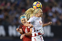 San Diego, CA - Sunday January 21, 2018: Julie Ertz, Pernille Harder prior to an international friendly between the women's national teams of the United States (USA) and Denmark (DEN) at SDCCU Stadium.