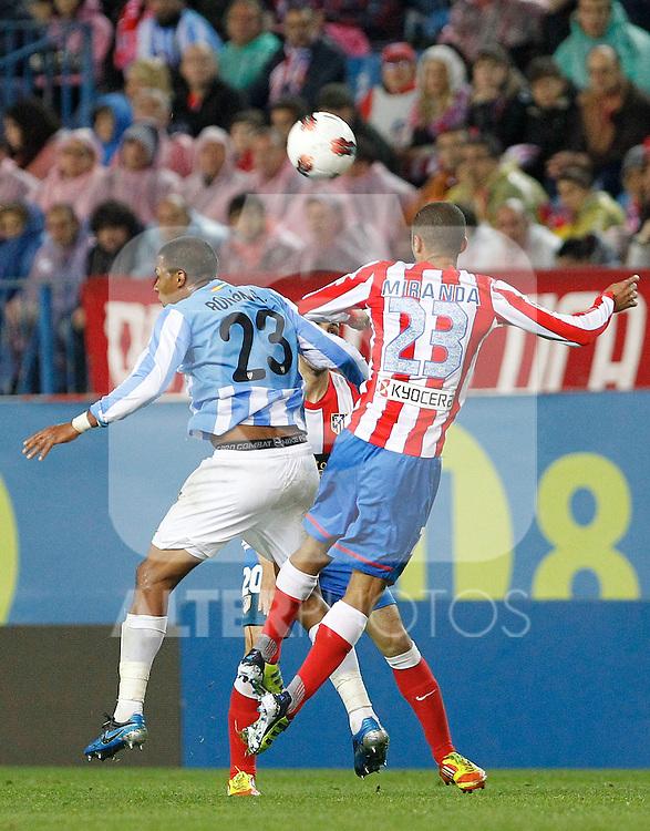 Atletico de Madrid's Miranda (r) and Malaga's Jose Salomon Rondon during La Liga match. Mayo 5,2012. (ALTERPHOTOS/Arnedo & Alconada)