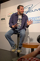 June 4 , 2002, Montreal, Quebec, Canada<br /> <br /> Jacques Villeneuve, talk about his career in Formula One, and his other projects, during a press conference held at NEWTOWN, his Montreal Restaurant - Club, June 4, 2002.