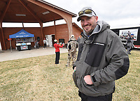 Tyler Hickman waits to receive his check and trophy on April 17 2021 at the Pagnozzi Parker Charities Big Bass Tournament.<br />