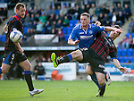 St Johnstone v Inverness Caledonian Thistle...05.10.13      SPFL<br /> Ross Draper tackles Gary McDonald<br /> Picture by Graeme Hart.<br /> Copyright Perthshire Picture Agency<br /> Tel: 01738 623350  Mobile: 07990 594431