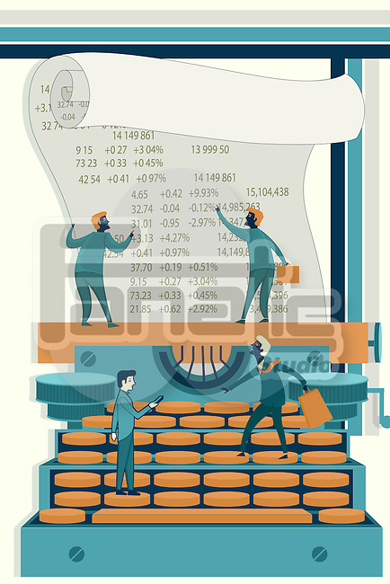 Illustrative image of businessmen calculating stock finances on typewriter
