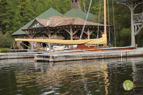 Merriweather Post estate  boathouse, Upper Saint Regis Lake, NY. Idem Schooner