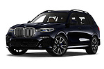 Stock pictures of low aggressive front three quarter view of 2019 BMW X7 M-Sport 5 Door SUV Low Aggressive