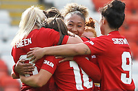 Kirsty Hanson (Manchester United Women) celebrates after scoring during the English Womens Championship match between Manchester United Women and Leicester City Women at Leigh Sports Village, Leigh, England on 10 March 2019. Photo by James Gill / PRiME Media Images.