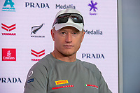 15th March 2021; Waitemata Harbour, Auckland, New Zealand;  Emirates Team New Zealand Helmsman Peter Burling at the post race press conference on day five of the America's Cup presented by Prada