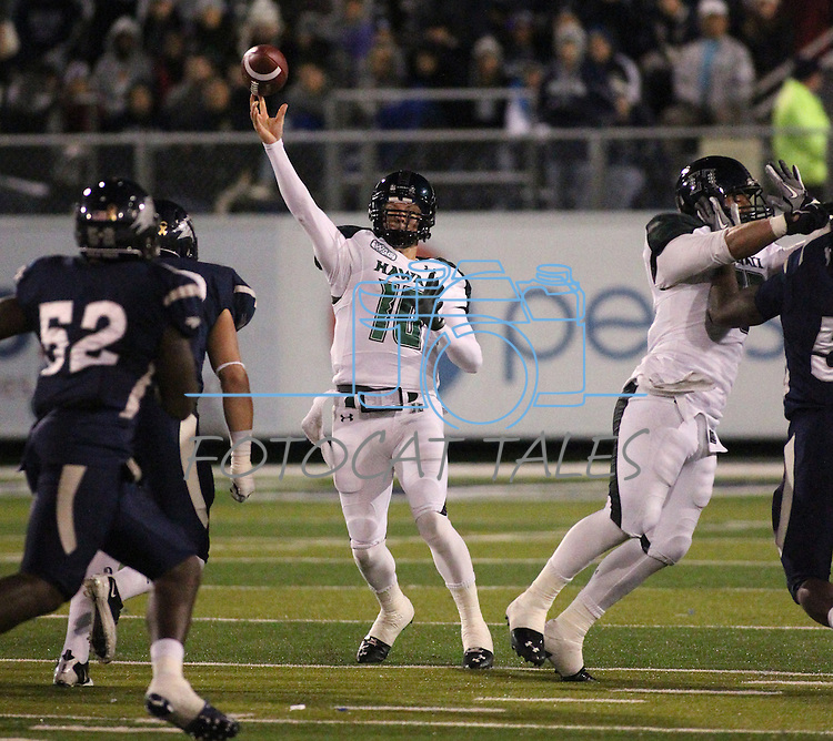 Hawaii quarterback Shane Austin throws in the during the first half of an NCAA football game in Reno, Nev., on Saturday Nov. 12, 2011. Nevada won 42-28. (AP Photo/Cathleen Allison)