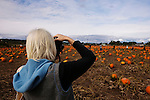 Woman photographing family fun at the Halloween Pumpkin Farm.  Kent Valley, Washington.