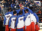 Houston Baptist Huskies team members huddle up before the game between the UTA Mavericks and the Houston Baptist Huskies held at the University of Texas in Arlington's Texas Hall in Arlington, Texas. UTA defeats Houston Baptist 72 to 57