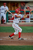 Leonardo Rivas (1) of the Orem Owlz bats against the Ogden Raptors at Home of the Owlz on September 11, 2017 in Orem, Utah. Ogden defeated Orem 7-3 to win the South Division Championship. (Stephen Smith/Four Seam Images)