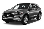2019 Infiniti QX50 LUXE AWD 5 Door SUV angular front stock photos of front three quarter view