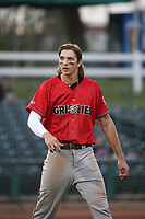 Zac Veen (13) of the Fresno Grizzlies during a game against the Inland Empire 66ers at San Manuel Stadium on May 25, 2021 in San Bernardino, California. (Larry Goren/Four Seam Images)