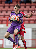 Goalkeeper Freddie Woodman of Crawley Town during the Sky Bet League 2 match between Crawley Town and Wycombe Wanderers at Checkatrade.com Stadium, Crawley, England on 29 August 2015. Photo by Liam McAvoy.