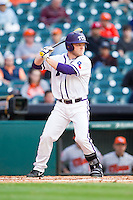 Boomer White #8 of the Texas Christian Horned Frogs at bat against the Sam Houston State Bearkats at Minute Maid Park on February 28, 2014 in Houston, Texas.  The Bearkats defeated the Horned Frogs 9-4.  (Brian Westerholt/Four Seam Images)